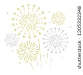 gold and bright firework on... | Shutterstock .eps vector #1205332348