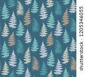 fern frond herbs  tropical... | Shutterstock .eps vector #1205346055