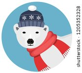 icebear with red scarf and blue ...   Shutterstock .eps vector #1205352328