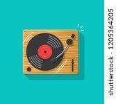 vinyl record player... | Shutterstock . vector #1205364205