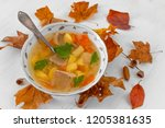 mushroom soup in a white plate... | Shutterstock . vector #1205381635