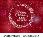 snowflakes circle frame on a... | Shutterstock .eps vector #1205387815