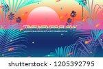 future classic beach vaporwave... | Shutterstock .eps vector #1205392795