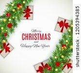 merry christmas and new year... | Shutterstock . vector #1205394385