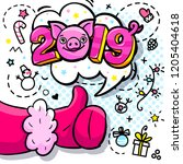 pig is a symbol of 2019 new... | Shutterstock .eps vector #1205404618