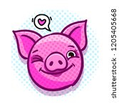 pig is a symbol of 2019 new... | Shutterstock .eps vector #1205405668