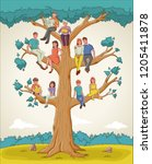 family tree with people.... | Shutterstock .eps vector #1205411878