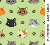 cute seamless pattern with... | Shutterstock . vector #1205413885