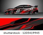 racing car wrap design vector.... | Shutterstock .eps vector #1205419945