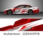 racing car wrap design vector.... | Shutterstock .eps vector #1205419978