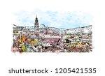 building view with landmark of... | Shutterstock .eps vector #1205421535