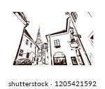 building view with landmark of... | Shutterstock .eps vector #1205421592