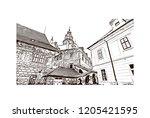 building view with landmark of... | Shutterstock .eps vector #1205421595
