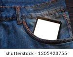 smartphone in pocket | Shutterstock . vector #1205423755