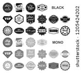 different label black icons in... | Shutterstock .eps vector #1205424202