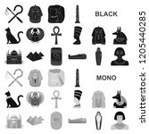 ancient egypt black icons in... | Shutterstock .eps vector #1205440285