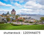 frontenac castle in old quebec... | Shutterstock . vector #1205446075