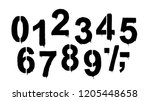 stencil numeral 0 and drip...   Shutterstock .eps vector #1205448658