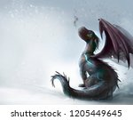 Stock photo dragon on the snow illustration 1205449645
