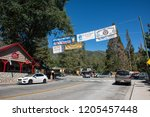 JUNE 30 2018 - IDYLLWILD, CALIFORNIA: Looking down Main Street of Idyllwild California on the Fourth of July holiday weekend, a small mountain town along the Palm to Pines Highway in the San Bernardin - stock photo