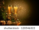 two champagne glasses ready to... | Shutterstock . vector #120546322