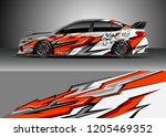racing car wrap design vector.... | Shutterstock .eps vector #1205469352