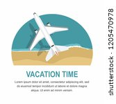 airplane flies over a sea  view ... | Shutterstock .eps vector #1205470978