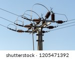 electric column and wires of...   Shutterstock . vector #1205471392