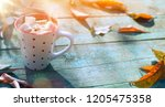 autumn food background  cup of... | Shutterstock . vector #1205475358