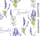 floral pattern with lavender.... | Shutterstock .eps vector #1205477728