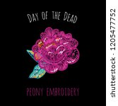 day of the dead  peony... | Shutterstock .eps vector #1205477752