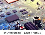 electronic circuit board close... | Shutterstock . vector #1205478538