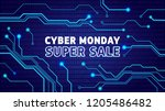 cyber monday sale poster ... | Shutterstock .eps vector #1205486482