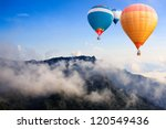 colorful hot air balloons... | Shutterstock . vector #120549436