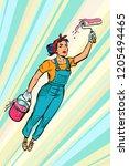 woman painter  superhero flies. ... | Shutterstock .eps vector #1205494465
