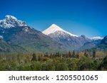volcan lanin  chile. | Shutterstock . vector #1205501065