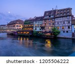 along the ill river at night in ...   Shutterstock . vector #1205506222