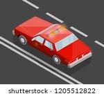 flat 3d isometric fire dept car ... | Shutterstock .eps vector #1205512822