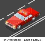 flat 3d isometric fire dept car ... | Shutterstock .eps vector #1205512828