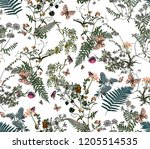 leaf  branch and butterfly... | Shutterstock . vector #1205514535