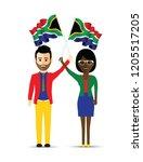 south africa flag waving man...   Shutterstock .eps vector #1205517205