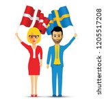 sweden and norway flag waving...   Shutterstock .eps vector #1205517208