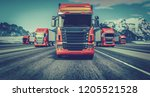 the truck running on the road... | Shutterstock . vector #1205521528