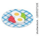 steam boiled eggs in a plate...   Shutterstock .eps vector #1205527135