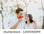 happy asian couple in love...   Shutterstock . vector #1205540095