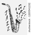 sketch of saxophone. jazz...   Shutterstock .eps vector #1205541232