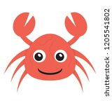 cartoon crab icon design  | Shutterstock .eps vector #1205541802