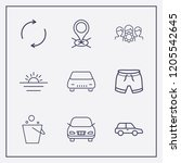 outline 9 vacation icon set.... | Shutterstock .eps vector #1205542645