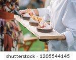catering service. waiter... | Shutterstock . vector #1205544145