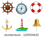 sea symbols on a white | Shutterstock .eps vector #120554632